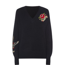Embroidered V-Neck Sweater