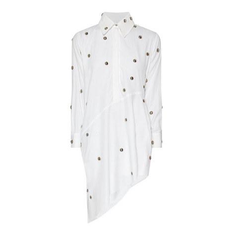 Studded Asymmetric Shirt Dress, ${color}