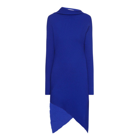 Drape Ribbed Asymmetric Dress, ${color}