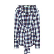 Off-Shoulder Check Shirt