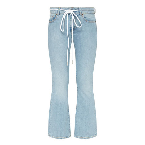 Diagonal Stripe Drawstring Jeans, ${color}
