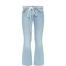 Diagonal Stripe Drawstring Jeans