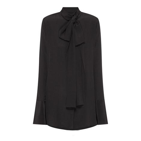 Erotic Tie Detail Silk Blouse, ${color}