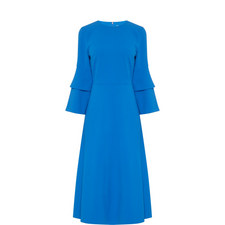 Bell Sleeve Crêpe Dress