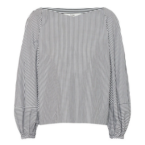 Cropped Stripe Bell Sleeve Top, ${color}
