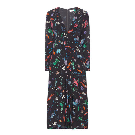 Camellia Space Print Dress , ${color}
