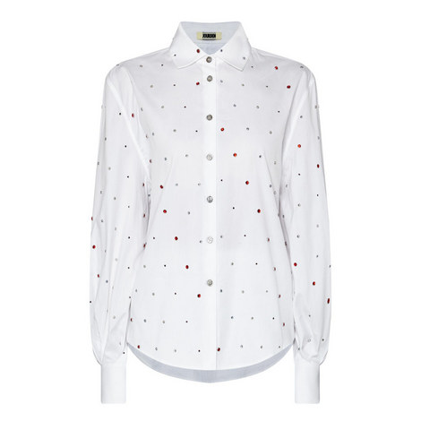 Poplin Rhinestone Embelllished Shirt, ${color}