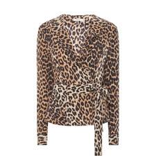 Fayette Leopard Print Wrap Blouse