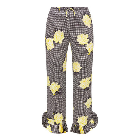 Calla Silk Printed Trousers , ${color}