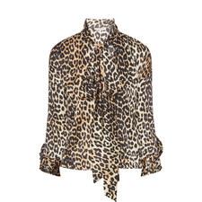 Calla Silk Leopard Print Blouse