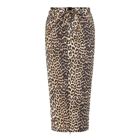 Calla Silk Leopard Skirt , ${color}