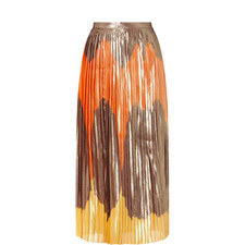 Tricolore Silk Long Skirt