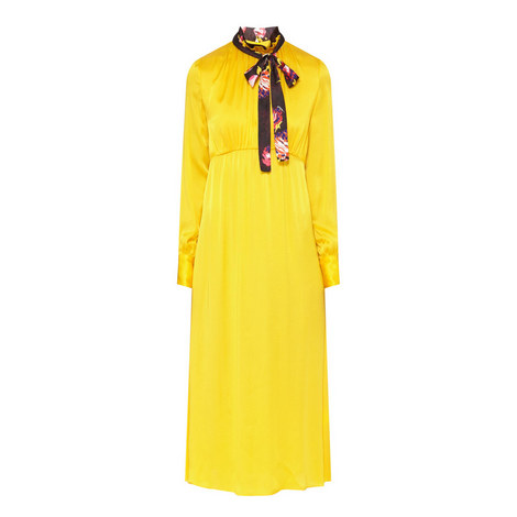 Long Sleeve Neck Tie Dress , ${color}