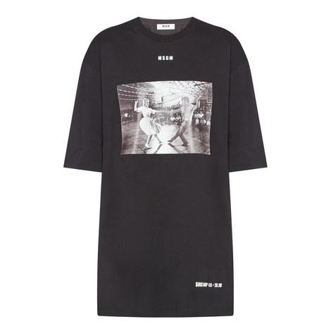Printed Short Sleeve T-Shirt Dress, ${color}