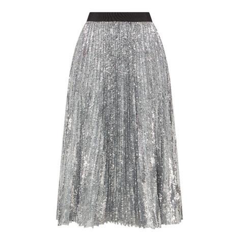 Pleated Sequin Midi Skirt , ${color}