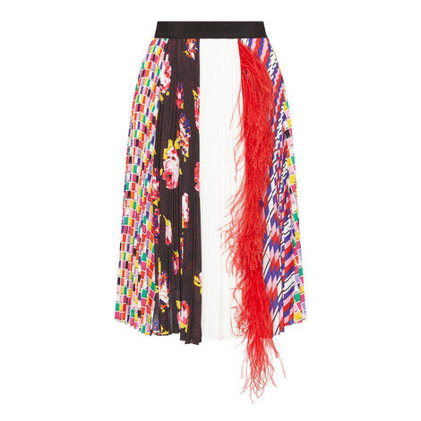 Printed Feather Skirt, ${color}