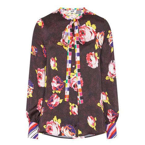 Floral Tie Neck Blouse, ${color}
