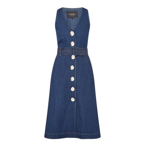 Denim V-Neck Dress, ${color}