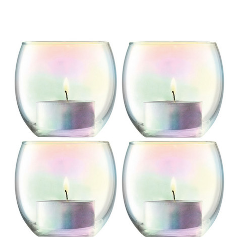 Pearl Tealight Holders Set of 4, ${color}