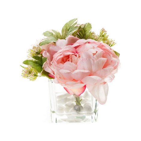 Peony Bundle in Glass Vase, ${color}