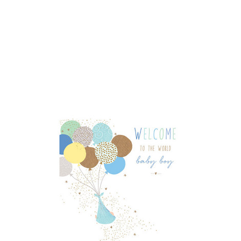 Welcome Baby Boy Card, ${color}
