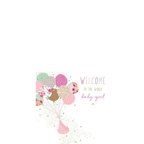 Welcome Baby Girl Card, ${color}