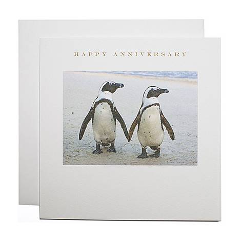 Penguins Happy Anniversary Card, ${color}