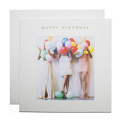 Girls With Balloons Birthday Card, ${color}