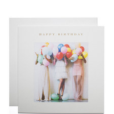Girls With Balloons Birthday Card