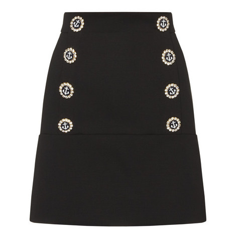 Nautical Buttoned Mini Skirt, ${color}