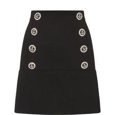 Nautical Buttoned Mini Skirt