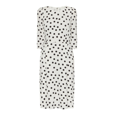 Half Sleeve Polka Dot Dress, ${color}