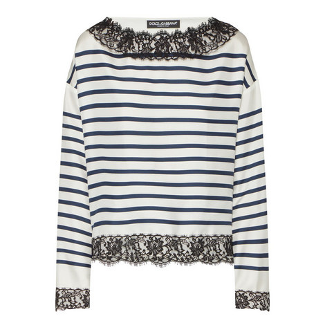 Lace Trim Stripe Top, ${color}