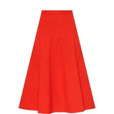 Textured Stripe Midi Skirt