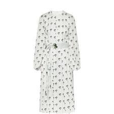 Contrast Pattern Midi Dress