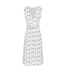 Pleated Daisy Print Midi Dress