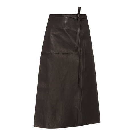 Candy Leather Midi Skirt, ${color}
