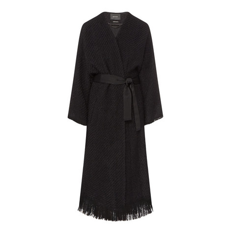 Iban Longline Tweed Coat, ${color}
