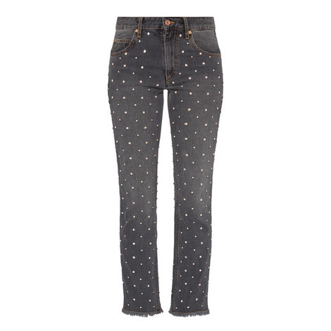 Crystal Studded Jeans , ${color}