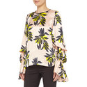 Floral Print Nezu Silk Top , ${color}