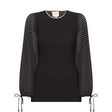 Ribbed Balloon Sleeve Top