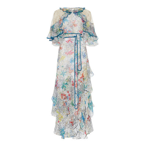 Flower Print Ruffle Gown, ${color}