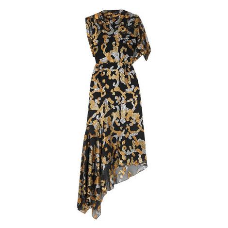 Asymmetric Fil-Coupé Midi Dress, ${color}