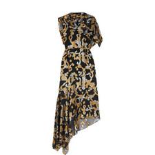 Asymmetric Fil-Coupé Midi Dress