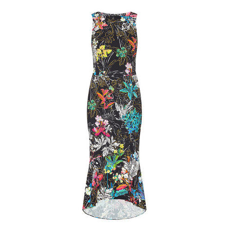 Flower Print Sleeveless Dress, ${color}