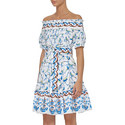 Bird Print Belted Off-Shoulder Dress, ${color}