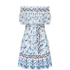 Bird Print Belted Off-Shoulder Dress