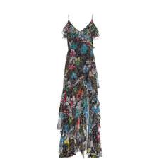 Flower Print Ruffle Gown