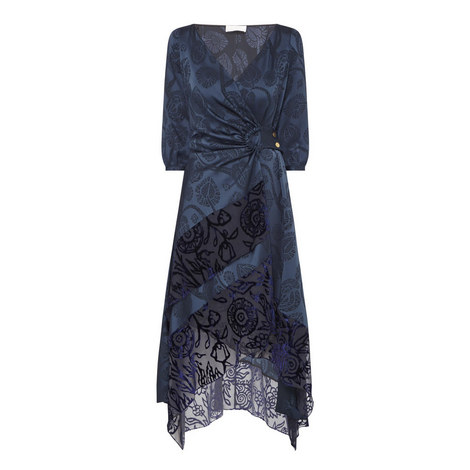 Floral Jacquard Satin Wrap Dress, ${color}