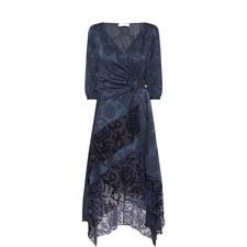 Floral Jacquard Satin Wrap Dress